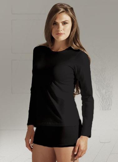 Penye Mood 4020 Bayan Uzun Kol T-Shirt  Siyah